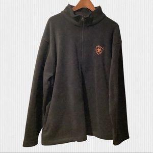 Ariat Black Fleece Quarter Zip Long Sleeve Pullover XL